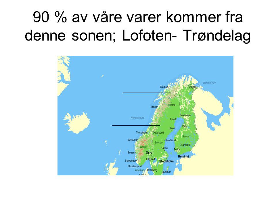90 % av våre varer kommer fra denne sonen; Lofoten- Trøndelag