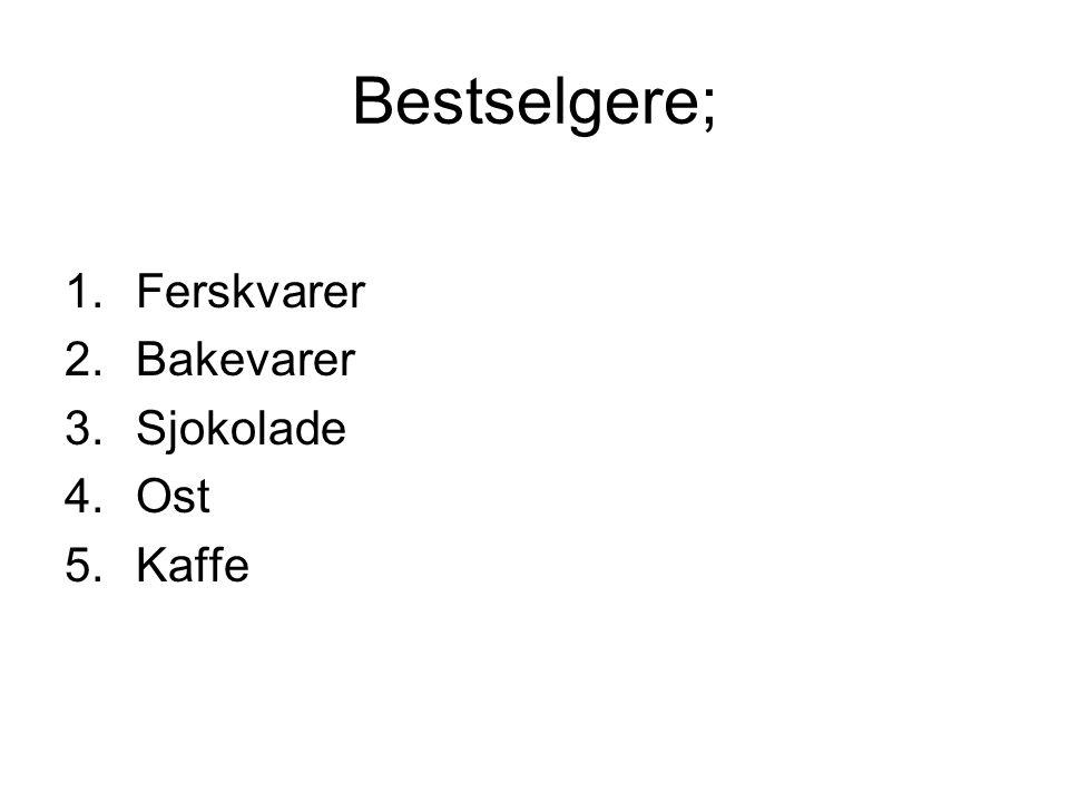 Bestselgere; Ferskvarer Bakevarer Sjokolade Ost Kaffe