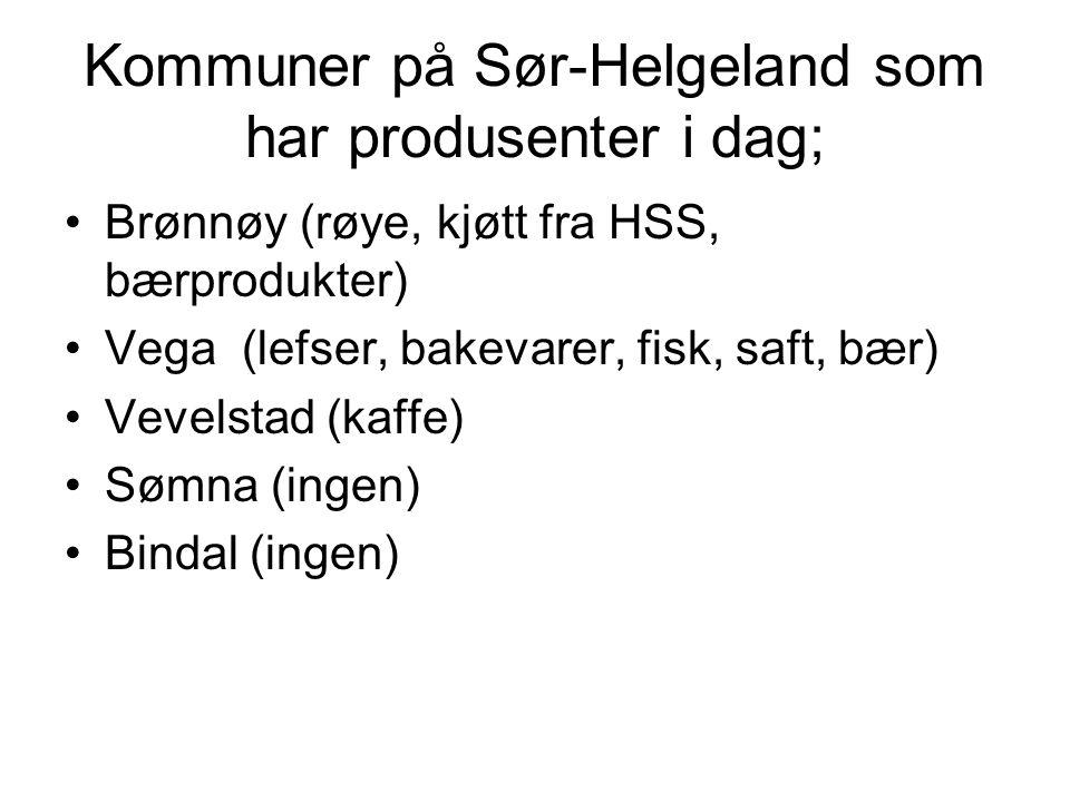 Kommuner på Sør-Helgeland som har produsenter i dag;