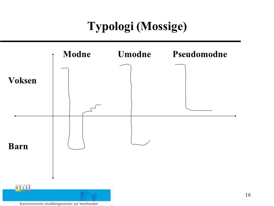 Typologi (Mossige) Modne Umodne Pseudomodne Voksen Barn