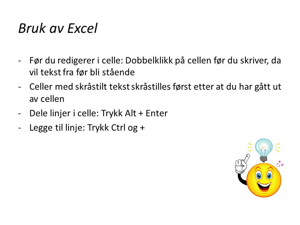 Bruk av Excel Før du redigerer i celle: Dobbelklikk på cellen før du skriver, da vil tekst fra før bli stående.