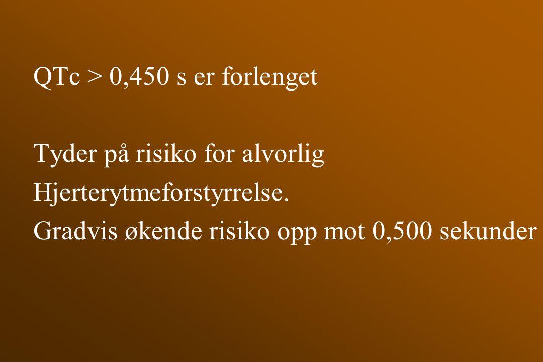 QTc > 0,450 s er forlenget Tyder på risiko for alvorlig.