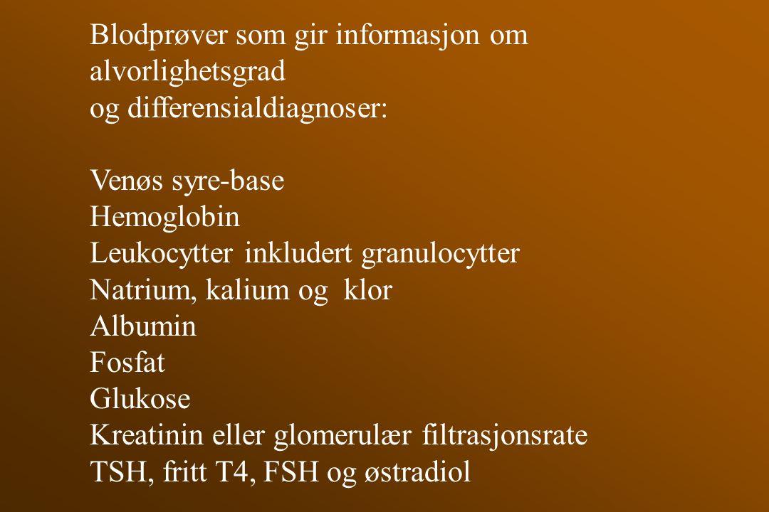 Blodprøver som gir informasjon om alvorlighetsgrad