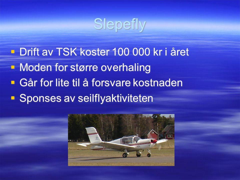 Slepefly Drift av TSK koster 100 000 kr i året