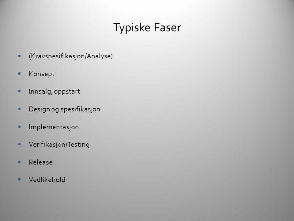 Typiske Faser (Kravspesifikasjon/Analyse) Konsept Innsalg, oppstart