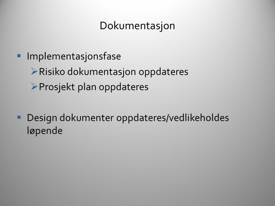 Dokumentasjon Implementasjonsfase Risiko dokumentasjon oppdateres