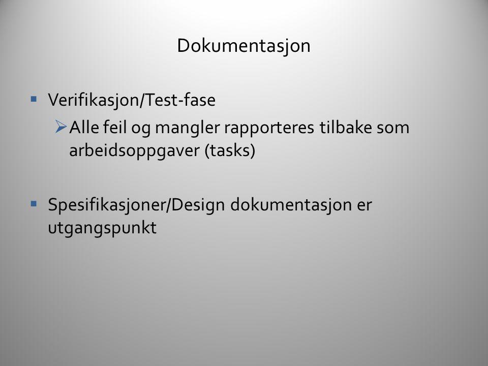 Dokumentasjon Verifikasjon/Test-fase