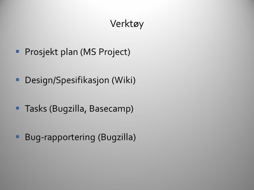 Verktøy Prosjekt plan (MS Project) Design/Spesifikasjon (Wiki)