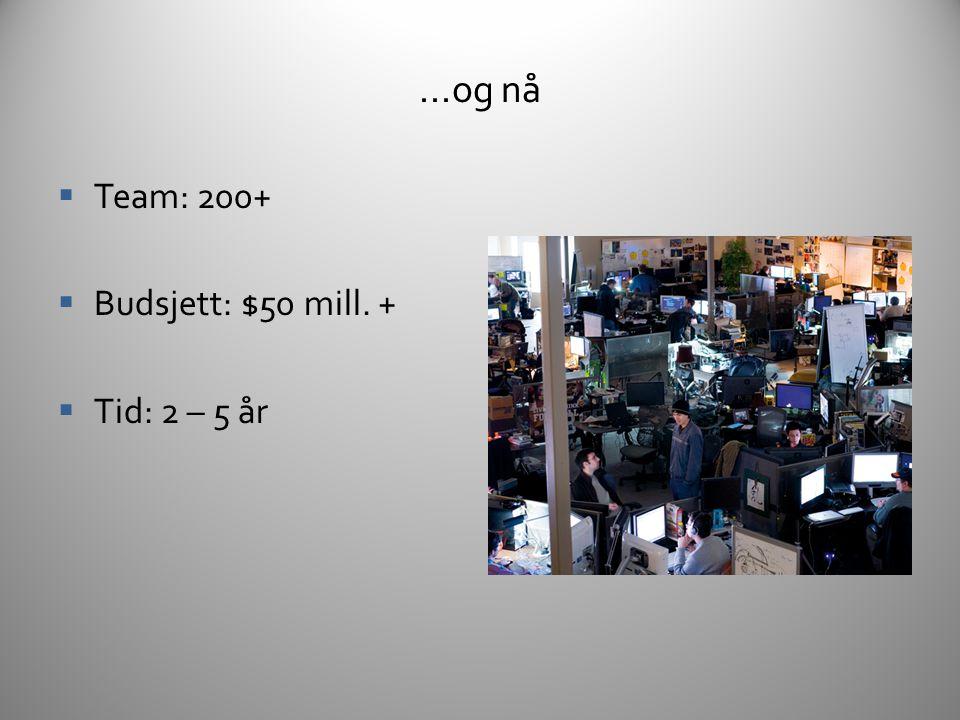 ...og nå Team: 200+ Budsjett: $50 mill. + Tid: 2 – 5 år