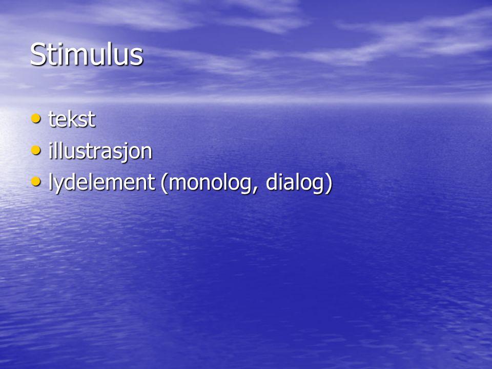 Stimulus tekst illustrasjon lydelement (monolog, dialog)