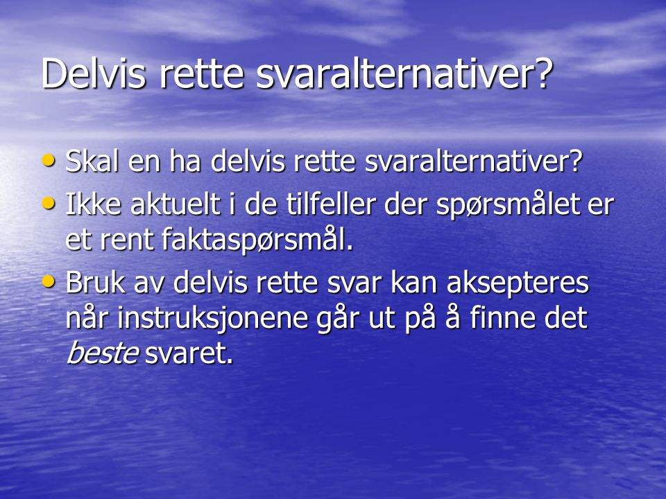 Delvis rette svaralternativer