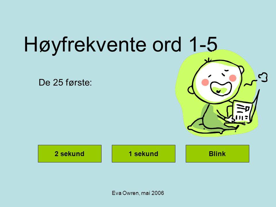 Høyfrekvente ord 1-5 De 25 første: 2 sekund 1 sekund Blink