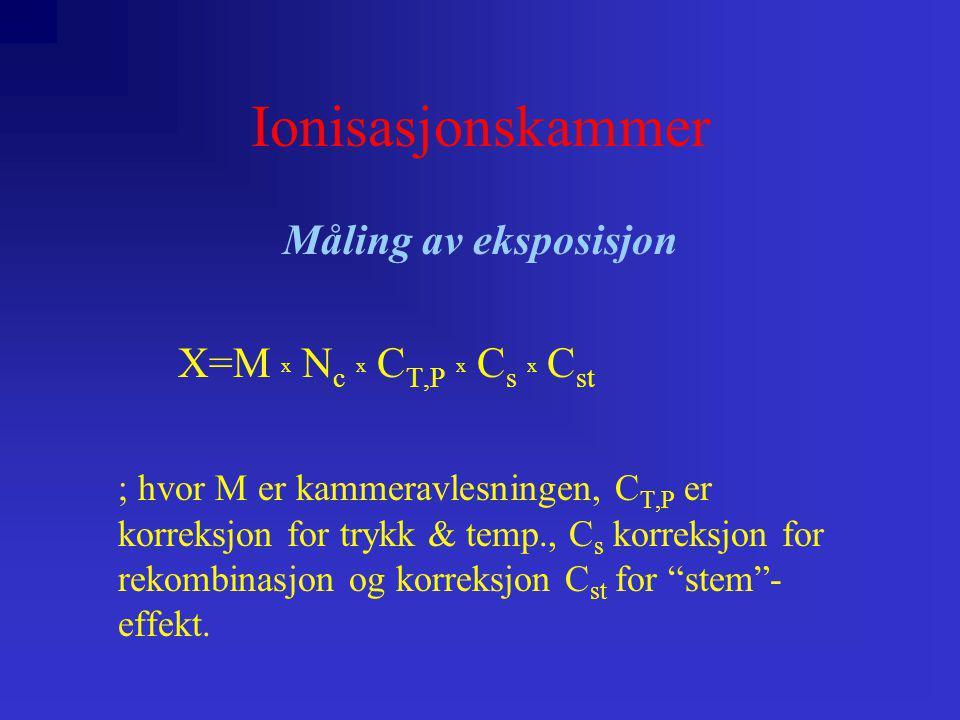 Ionisasjonskammer Måling av eksposisjon X=M x Nc x CT,P x Cs x Cst