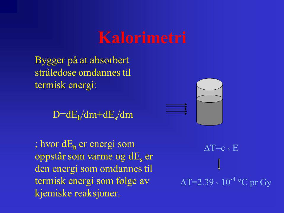 Kalorimetri Bygger på at absorbert stråledose omdannes til termisk energi: D=dEh/dm+dEs/dm.