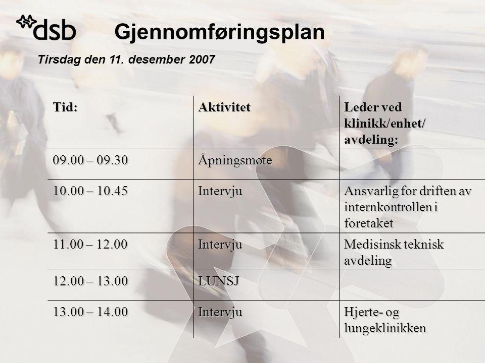 Gjennomføringsplan Tid: Aktivitet Leder ved klinikk/enhet/ avdeling: