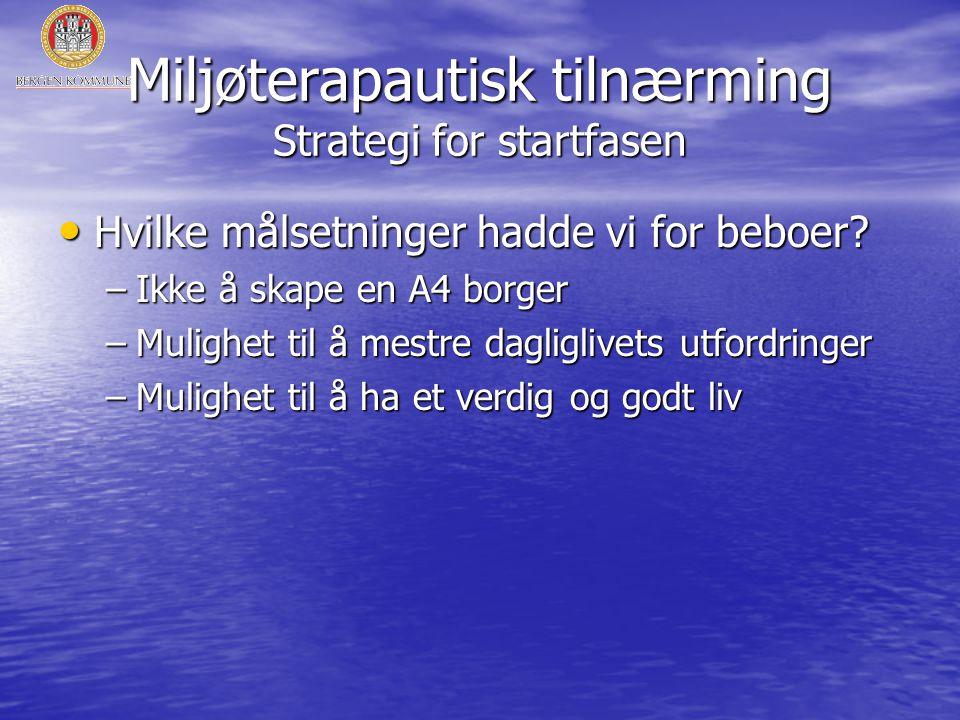 Miljøterapautisk tilnærming Strategi for startfasen