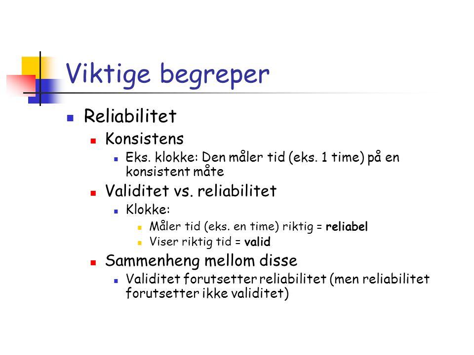 Viktige begreper Reliabilitet Konsistens Validitet vs. reliabilitet