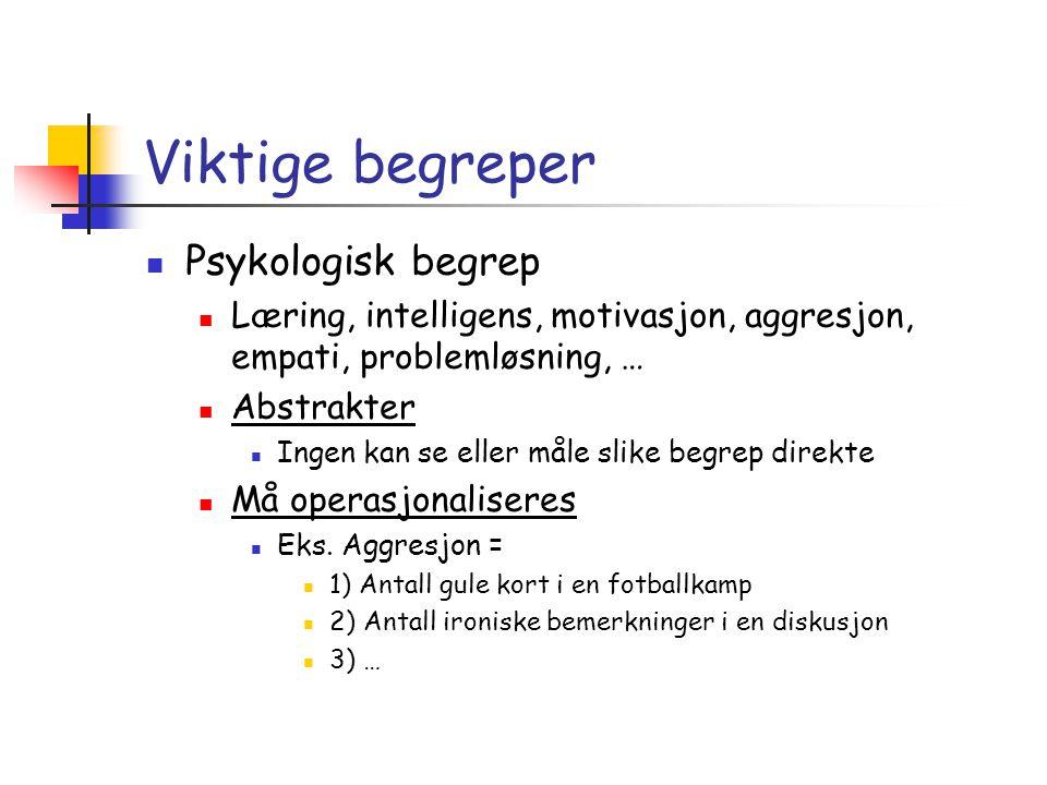 Viktige begreper Psykologisk begrep