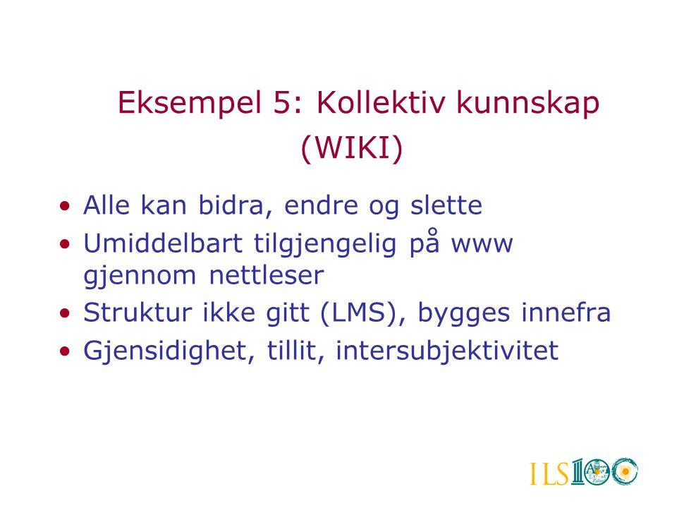 Eksempel 5: Kollektiv kunnskap (WIKI)
