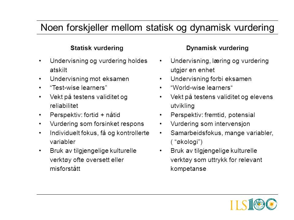Noen forskjeller mellom statisk og dynamisk vurdering