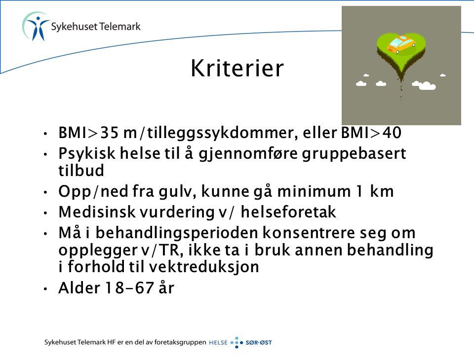 Kriterier BMI>35 m/tilleggssykdommer, eller BMI>40
