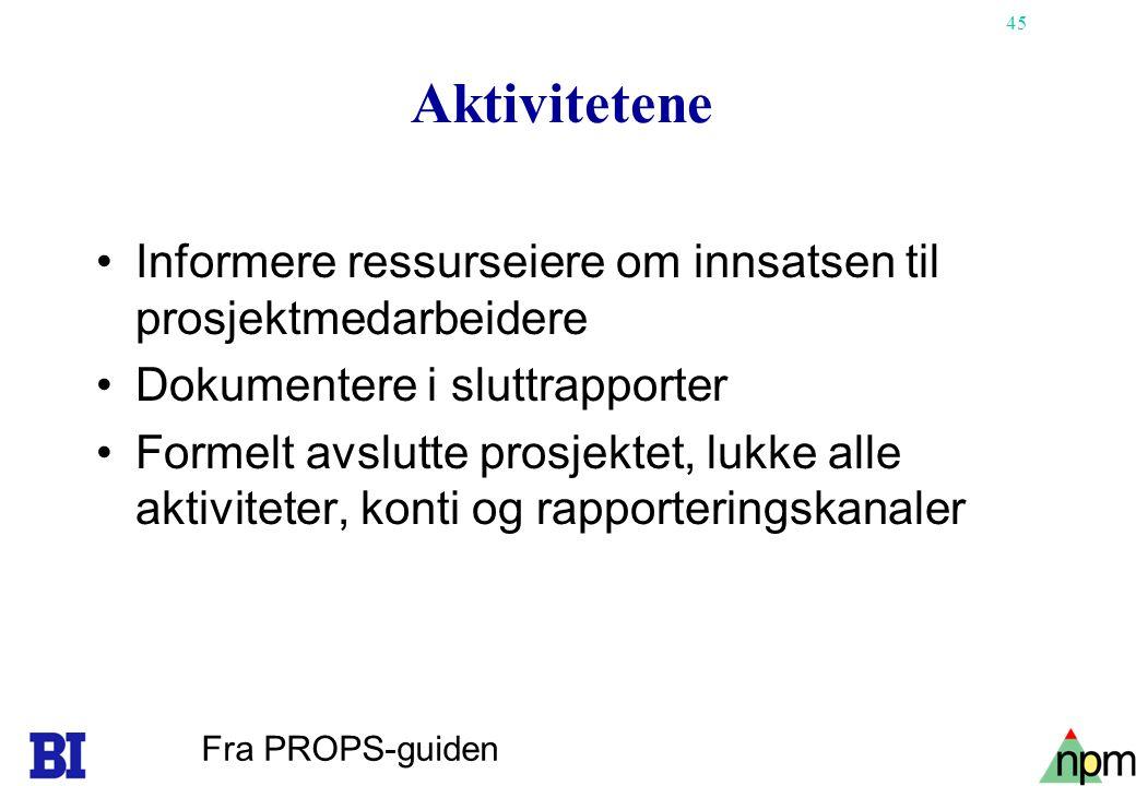 Aktivitetene Informere ressurseiere om innsatsen til prosjektmedarbeidere. Dokumentere i sluttrapporter.