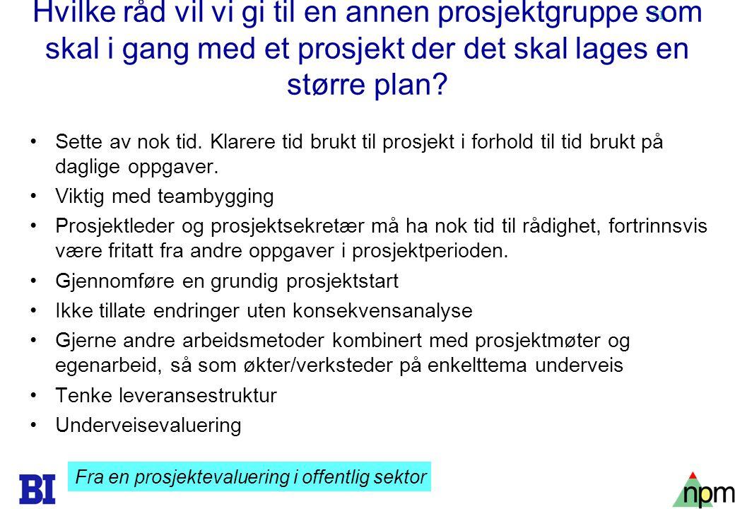 Hvilke råd vil vi gi til en annen prosjektgruppe som skal i gang med et prosjekt der det skal lages en større plan