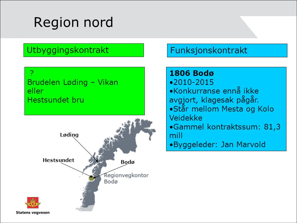 Region nord Utbyggingskontrakt Funksjonskontrakt