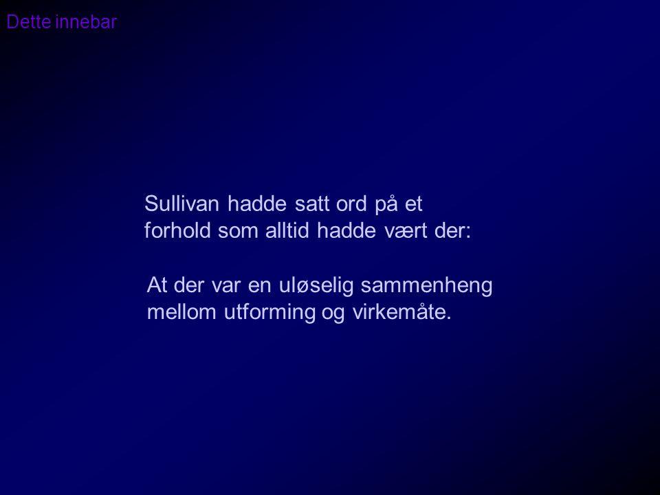 Sullivan hadde satt ord på et forhold som alltid hadde vært der: