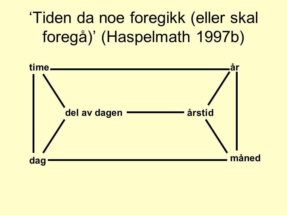 'Tiden da noe foregikk (eller skal foregå)' (Haspelmath 1997b)
