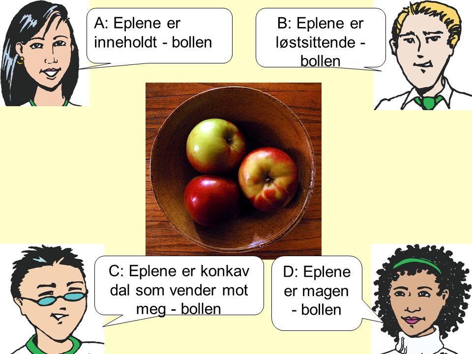A: Eplene er inneholdt - bollen B: Eplene er løstsittende - bollen