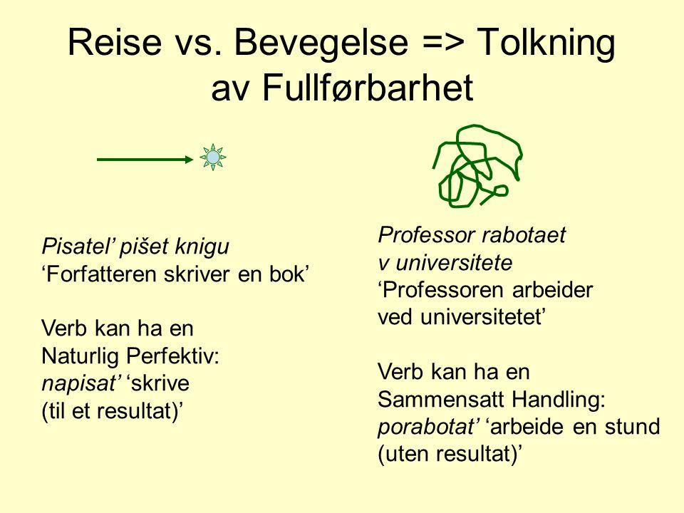 Reise vs. Bevegelse => Tolkning av Fullførbarhet