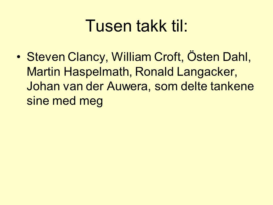 Tusen takk til: Steven Clancy, William Croft, Östen Dahl, Martin Haspelmath, Ronald Langacker, Johan van der Auwera, som delte tankene sine med meg.