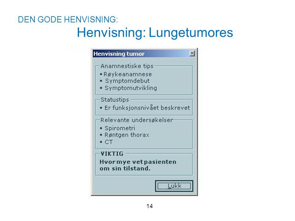 DEN GODE HENVISNING: Henvisning: Lungetumores