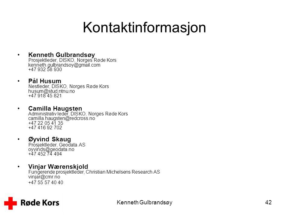 Kontaktinformasjon Kenneth Gulbrandsøy Prosjektleder, DISKO, Norges Røde Kors kenneth.gulbrandsoy@gmail.com +47 932 58 930.