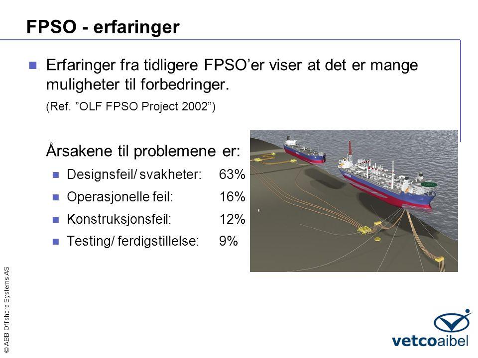 FPSO - erfaringer Erfaringer fra tidligere FPSO'er viser at det er mange muligheter til forbedringer.
