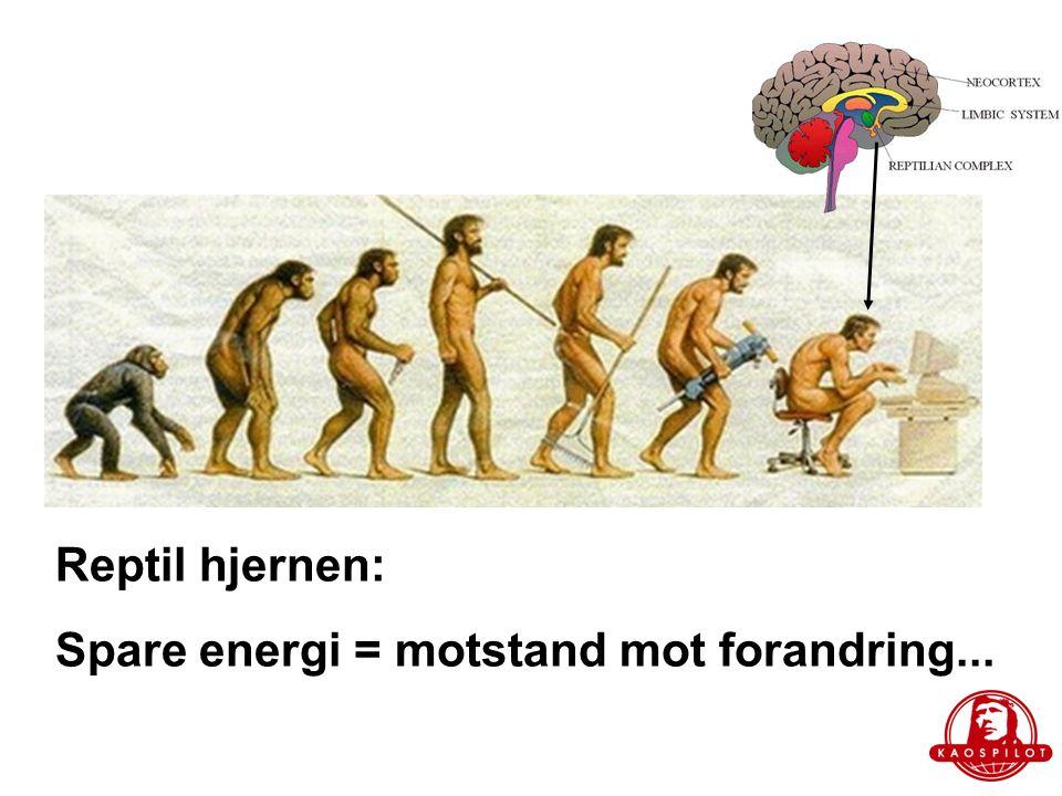 Reptil hjernen: Spare energi = motstand mot forandring...