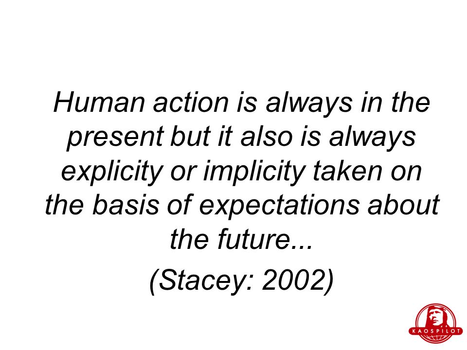 Human action is always in the present but it also is always explicity or implicity taken on the basis of expectations about the future...