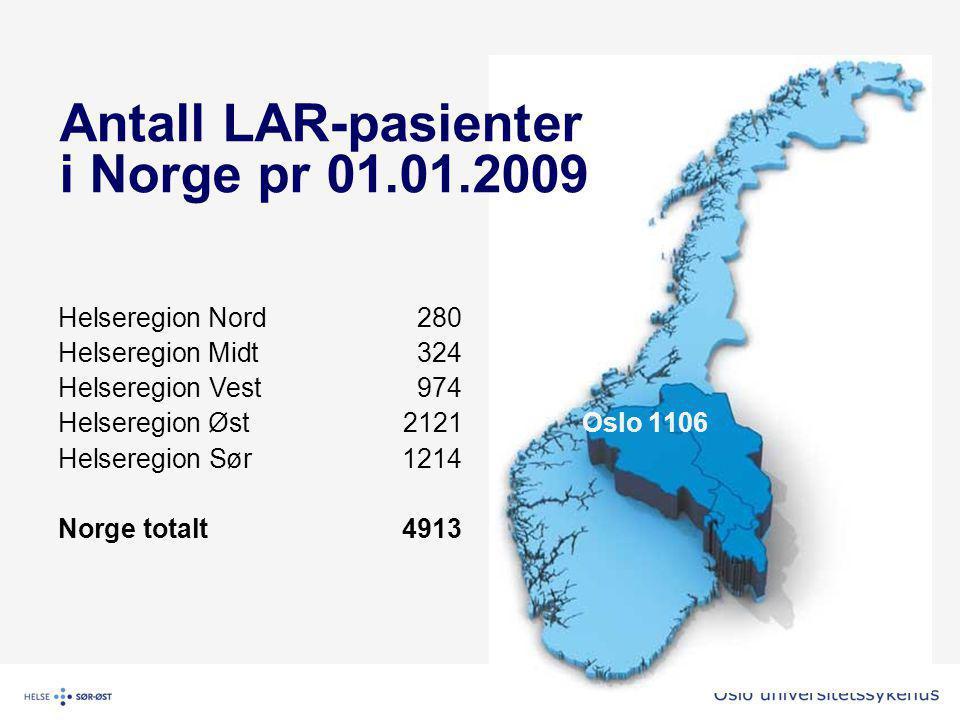 Antall LAR-pasienter i Norge pr 01.01.2009