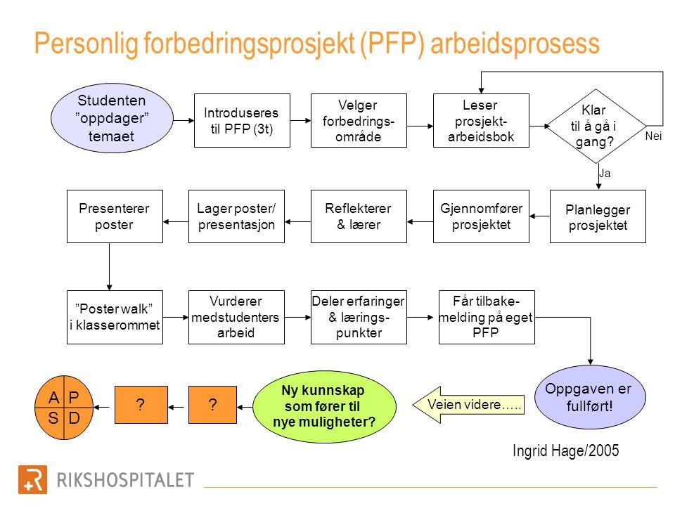 Personlig forbedringsprosjekt (PFP) arbeidsprosess