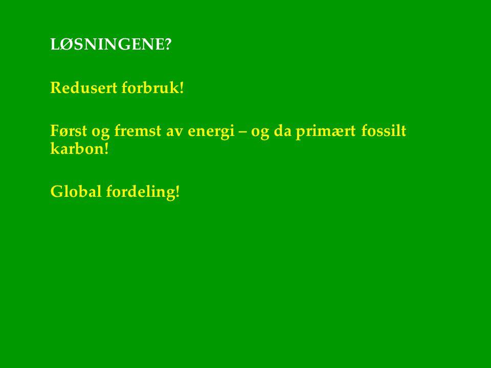LØSNINGENE. Redusert forbruk. Først og fremst av energi – og da primært fossilt karbon.