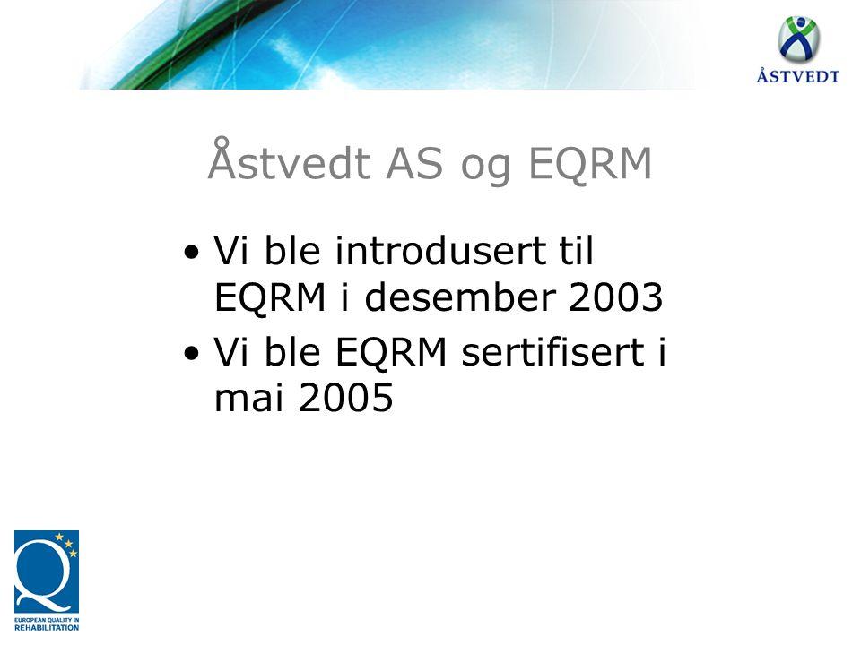 Åstvedt AS og EQRM Vi ble introdusert til EQRM i desember 2003