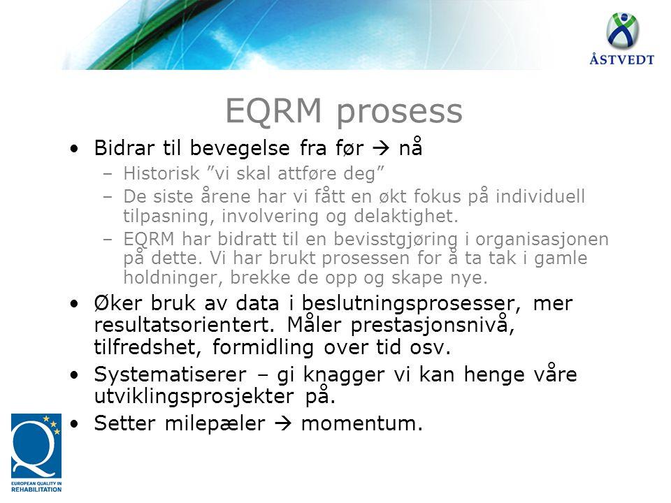 EQRM prosess Bidrar til bevegelse fra før  nå