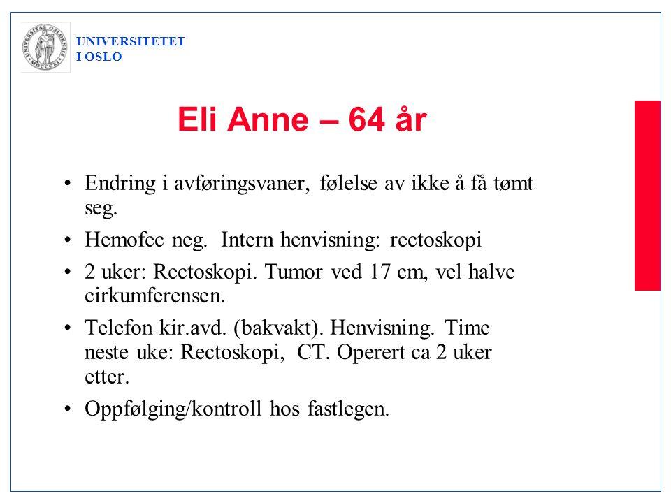 Eli Anne – 64 år Endring i avføringsvaner, følelse av ikke å få tømt seg. Hemofec neg. Intern henvisning: rectoskopi.