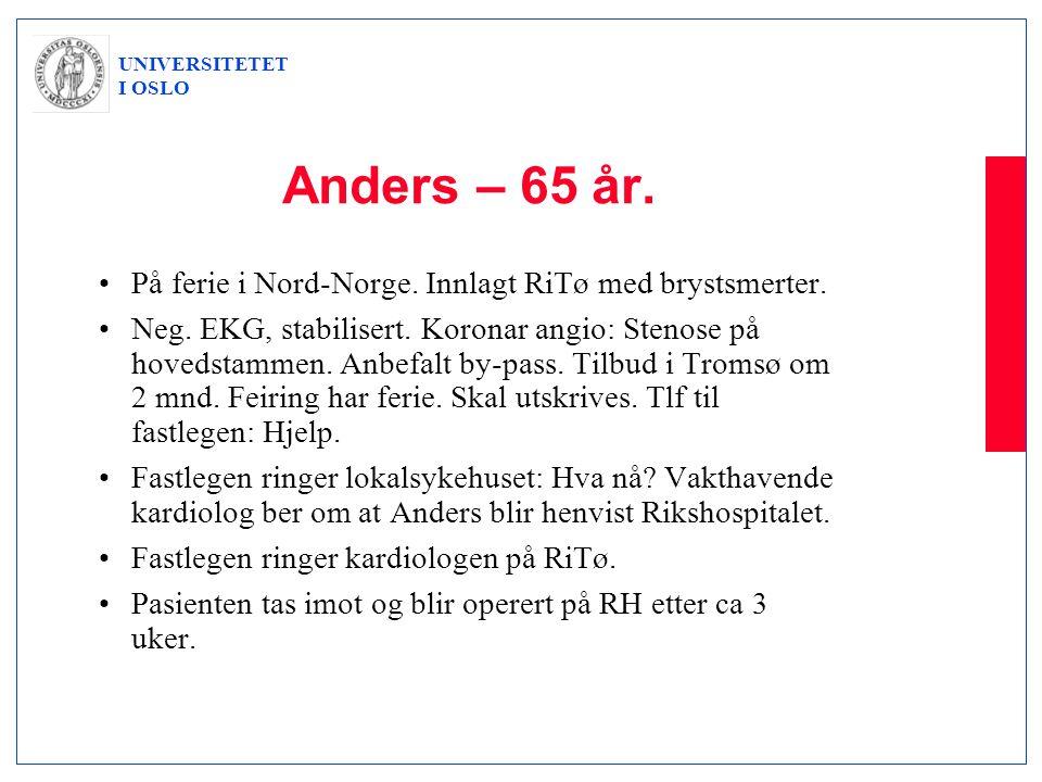 Anders – 65 år. På ferie i Nord-Norge. Innlagt RiTø med brystsmerter.