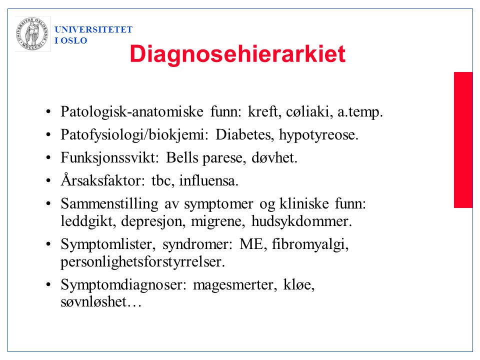 Diagnosehierarkiet Patologisk-anatomiske funn: kreft, cøliaki, a.temp.