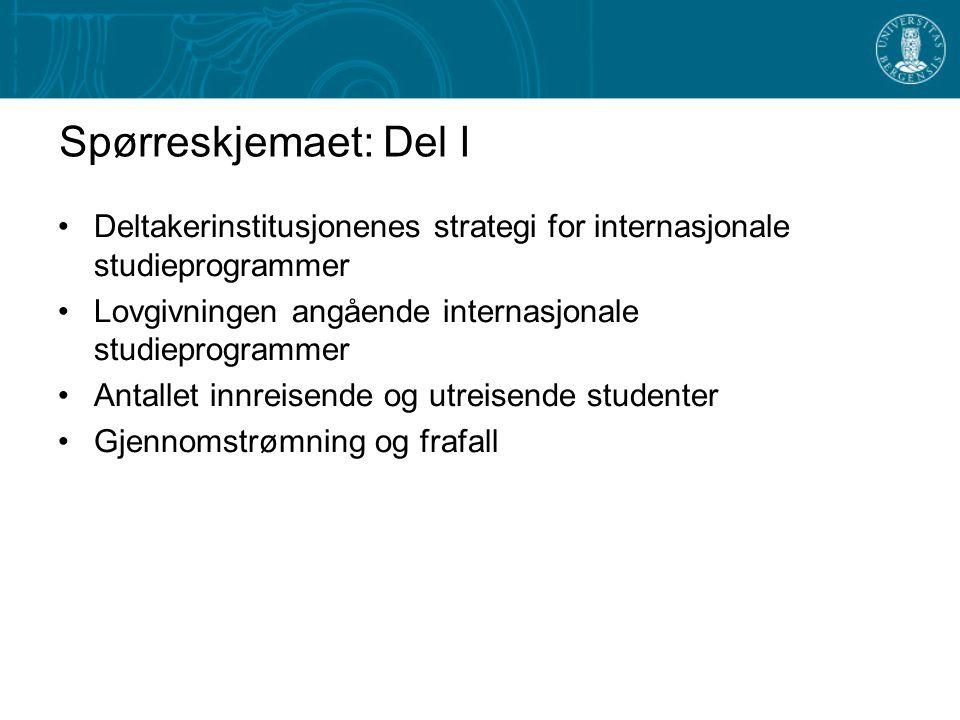 Spørreskjemaet: Del I Deltakerinstitusjonenes strategi for internasjonale studieprogrammer. Lovgivningen angående internasjonale studieprogrammer.
