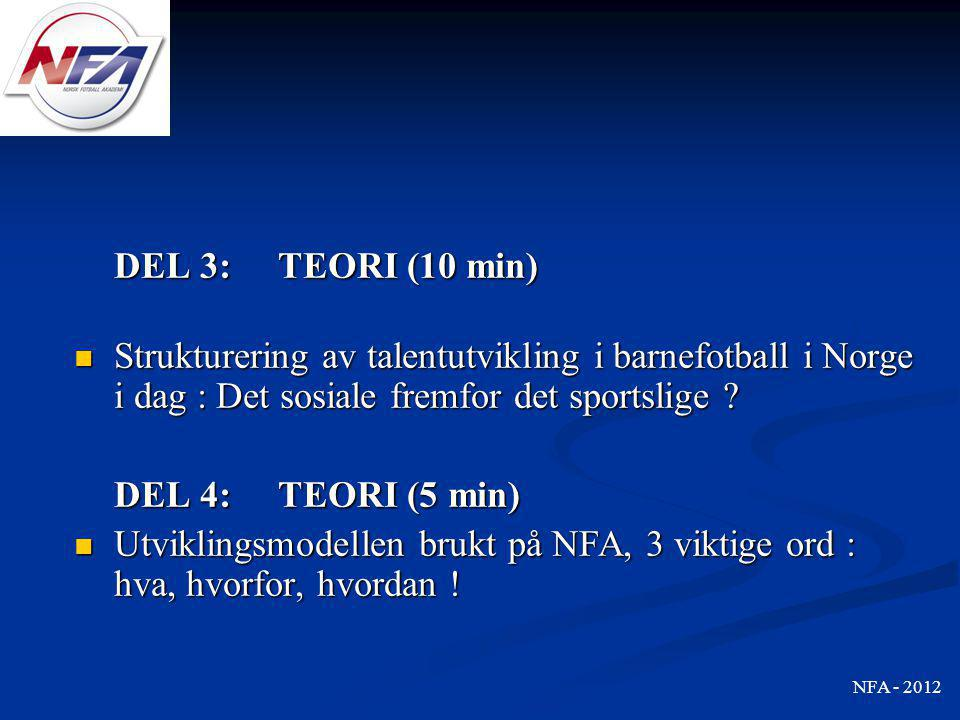 DEL 3: TEORI (10 min) Strukturering av talentutvikling i barnefotball i Norge i dag : Det sosiale fremfor det sportslige
