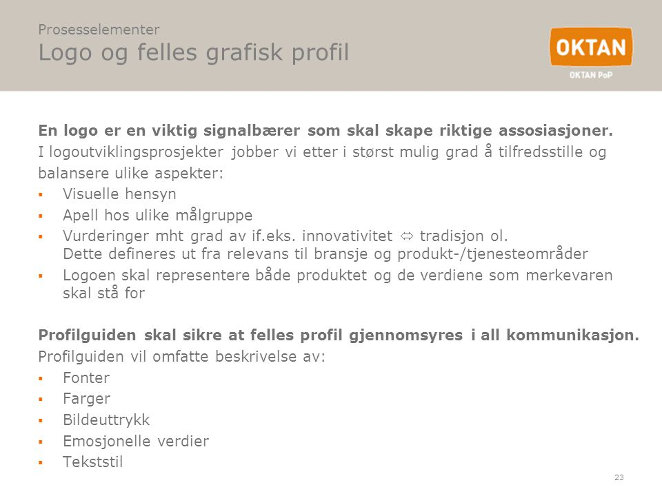 Prosesselementer Logo og felles grafisk profil