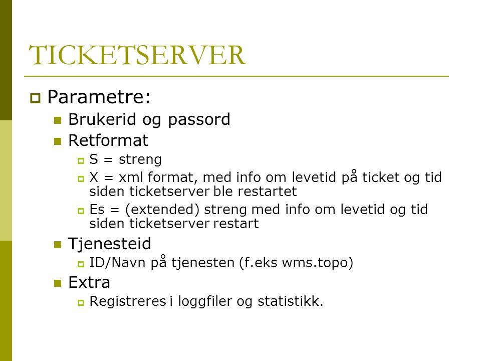 TICKETSERVER Parametre: Brukerid og passord Retformat Tjenesteid Extra